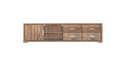 SAM® Longboard TV-Schrank White Mountain V aus Sheesham, zwei Ablageflächen, vier Schubladen, eine Tür