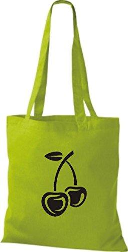 T-shirt Di Stoffa Di Cotone Tinta Unita La Tua Frutta E Verdura Preferita Color Ciliegia Kelly Limegreen
