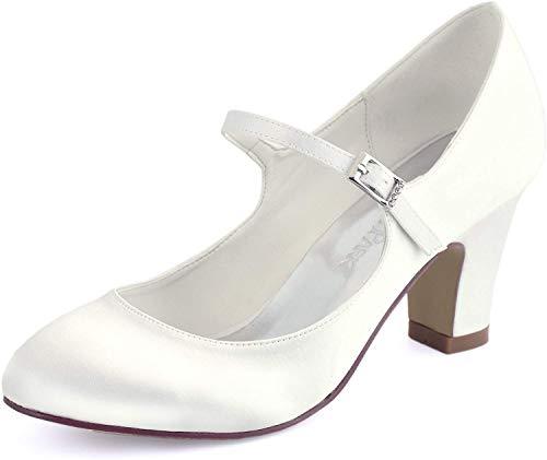 ElegantPark HC1801 Bequeme Damen Blockabsatz Mary Jane Pumps Satin Hochzeit Brautschuhe, Ivory, 41 EU