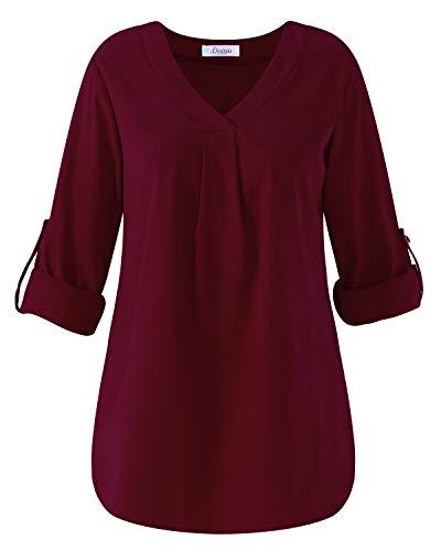 Dorimis Damen V-Ausschnitt Langarm Shirt Lose Einfarbige Bluse Oversize Langshirt Tops Weinrot EU 46/Etikettgröße 2XL