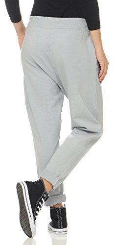 malito Damen Jogginghose mit Knopfleiste | Sporthose in Unifarben | Baggy zum Tanzen | Sweatpants �?Trainingshose 3302 Hellgrau