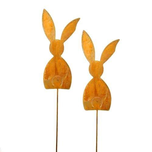 Hase, Hasen stehend, Gartenstecker; Metall, Rost; 72 cm; 2 Stück; Beetstecker; Blumenstecker