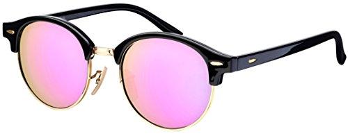 Sonnenbrille Halbrahmen La Optica UV 400 Schutz Damen Rund Round - Rahmen Schwarz Gold (Gläser: Rosa/Pink verspiegelt)