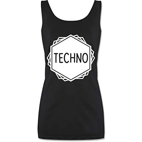 - Techno Festival Motiv - S - Schwarz - P72 - lang-geschnittenes Tanktop für Damen ()