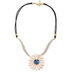 COOLSTEELANDBEYOND Statement Halsketten Funkelnden Strass Blau Beige Kristall Gänseblümchen Blumen Anhänger, Große Baumelnde Kragen