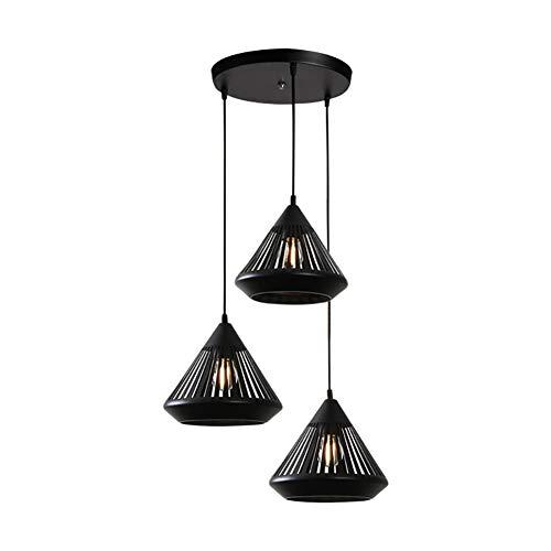 BERGHT Moderner Klassischer Kronleuchter Hängelampe 3 Light E27 Minimalist Bar Table Esstisch Verstellbare Pendelleuchte (schwarz) -