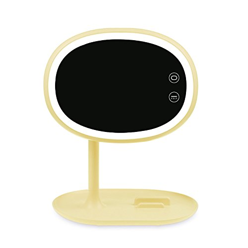 Lampe de table Support de téléphone portable Miroir de maquillage Verre LED Miroir de bureau Espace de maquillage Chargement USB Cadeau d'anniversaire Rose Jaune (Color : Yellow)