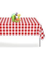 Premium Kunststoff Tischdecke 54Zoll x 274,3cm. Rechteck Tisch, 6-12Stück von dluxware 12er-Pack Red Gingham Checkered -