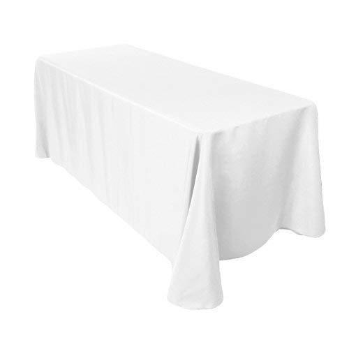 Trimming shop cotone poliestere rettangolare tovaglia copertura per cena & festa di natale 228.6x320cm by (singolo) - confezione da 1, white