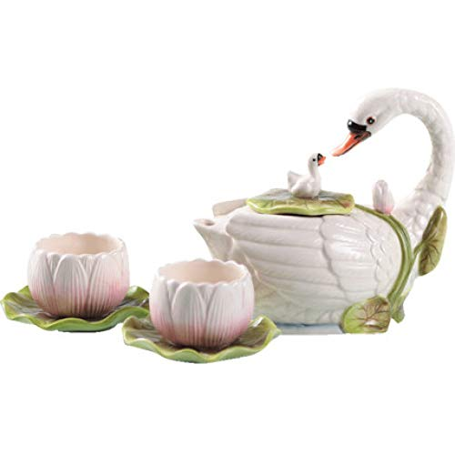 Moka, mmkicc teiera di cigno tazze da tè pomeridiane set da tè in ceramica 1 caffettiera 2 tazze piattino vestito decorazione di cerimonia nuziale regalo di san valentino, set da caffè