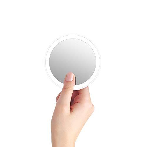 BlitzWolf Espejo de Bolsillo, Espejo de Mano con Luz LED Espejo de Maquillaje Recargable...