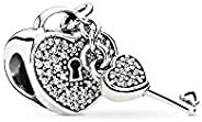 Pandora Women's Sterling Silver Padlock of Love And Key Charm - 7914