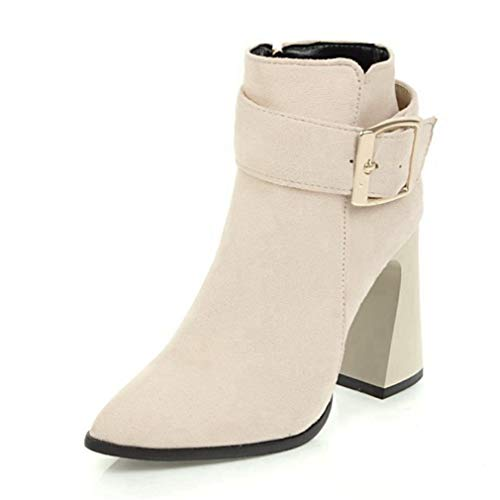 (Womens Ankle Bootie Ladies Buckle Strap Sexy Boots Winter Thick high Heels Women Shoes Plus Size)