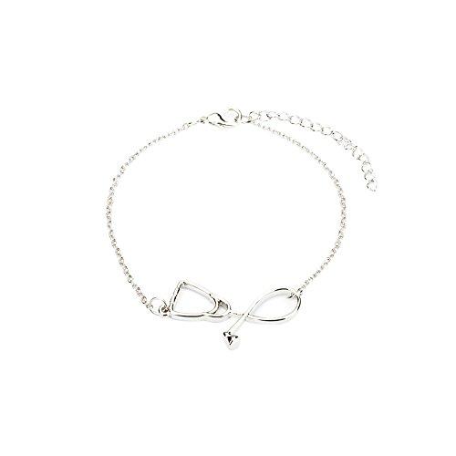 Fengteng Einfach Damen Armbänder Stethoskop Armband Charm Krankenschwester Medizin Arzt Armreif Herz Armschmuck Geschenk (Silber)