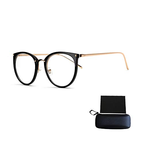 Simshew Brillengestelle Nerd Brille Retro Runde Unisex Dekorative Brille Klassische Mode Damen/Herren Eyewear Schön (Color : Bright Black)