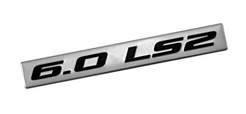 6.0 LS2 BLACK on SILVER Highly Polished Real Aluminum EMBLEM