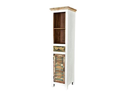 Woodkings Hochschrank Perth weiß, recyceltes Massivholz bunt antik, Regal Bücherregal vintage, Design Bücherschrank Holzmöbel (Antik Bücherschrank)