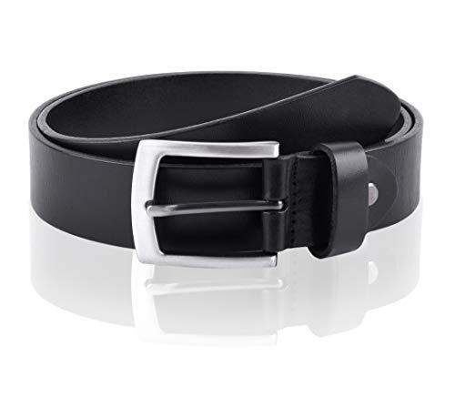Massi Morino ® Cinturón de cuero para hombres (3,5 cm de ancho) de cuero de vaca auténtico | Cinturón de cuero completo disponible en negro o marrón (incl. bolsa de regalo)