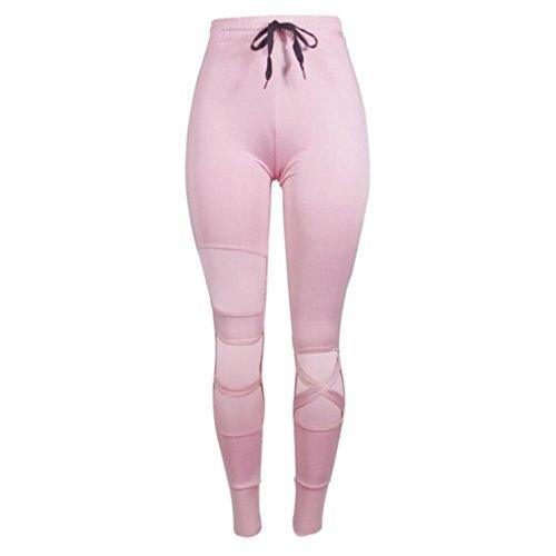 Preisvergleich Produktbild Kaiki Frauen hohe Taille Sport Gym Yoga Running Fitness Hohle Leggings Hosen Athletic Hose (S, Pink)