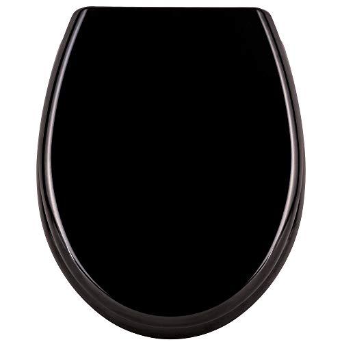 AUFUN Toilettendeckel Absenkautomatik WC Sitz Klobrille mit Softclose Toilettensitz aus Hartplastik Antibakteriell Klodeckel aus Duroplast Universal Größe, 25 Bilder zur Auswahl - Schwarz