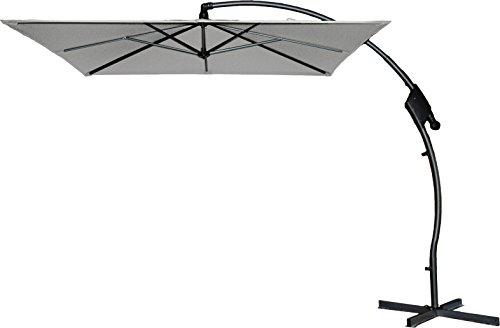 Hartman Ampelschirm 250x250 cm Tenero hellgrau Sonnenschirm Sonnenschutz incl. Schirmfuß