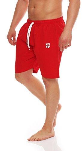 Gennadi Hoppe Herren Badeshorts Badehose Beach Shorts Schwimmshort (XS, rot) (Unten Rot Männer)