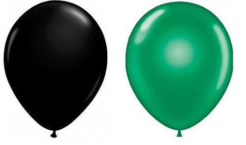 INERRA Globos - Paquete de 50 Mezclado (25 x Verde Brillante & 25 x Negro) Látex 10' for Helio O Aire -Cumpleaños Y Boda