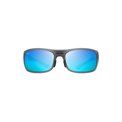 Maui Jim B440 11M Matte Grey Big Wave Rectangle Sunglasses Polarised Lens Category 3 Lens Mirrored Size 67mm