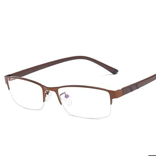 Klerokoh Metall-Business-Business-Blaue Brille Quadratische Brille Ultraleichte Mode-Computer-Brille Für Frauen Männer (Color : Brass)
