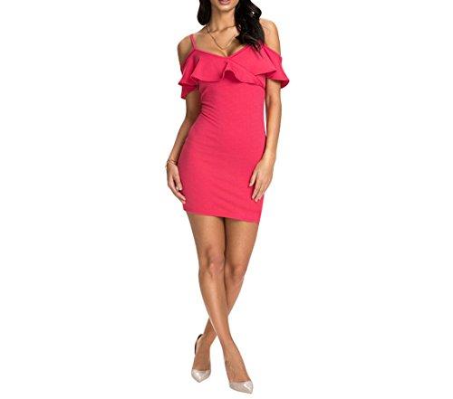 Purpura Erizo Femme Robe Courte Moulante Ajustée Bustier A Froncé Froufrous Rose
