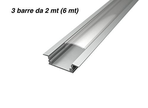 Lot de 3 profilés en aluminium encastrables pour barres à LED, 2 m, avec verre trasparente, embouts et système de fixation inclus, 6 m au total