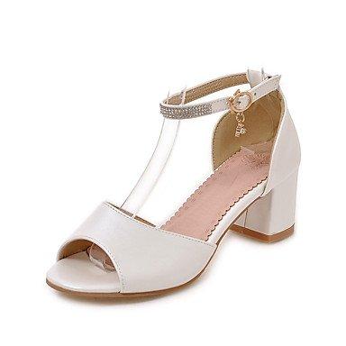 LvYuan Da donna Sandali Comoda Alla schiava Sintetico Estate Formale Comoda Alla schiava A stiletto Bianco Nero Rosa 5 - 7 cm White