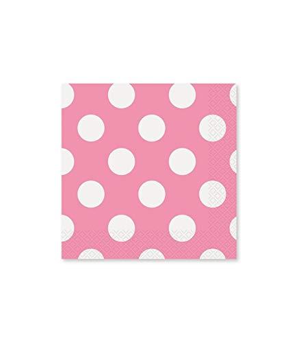 TradeShopTraesio®- 72servilletas de papel, de color rosa con lunares, para cumpleaños, nacimiento, bautizo, fiesta
