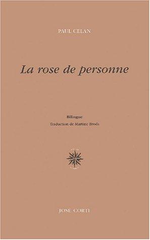 La rose de personne : Edition bilingue français-allemand par Paul Celan
