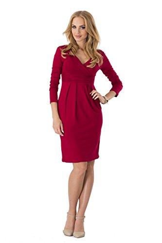 Kleid Tunika Mini Kleid überlappender V-Ausschnitt Gr. S M L XL 2XL 3XL, 6801 Bordo