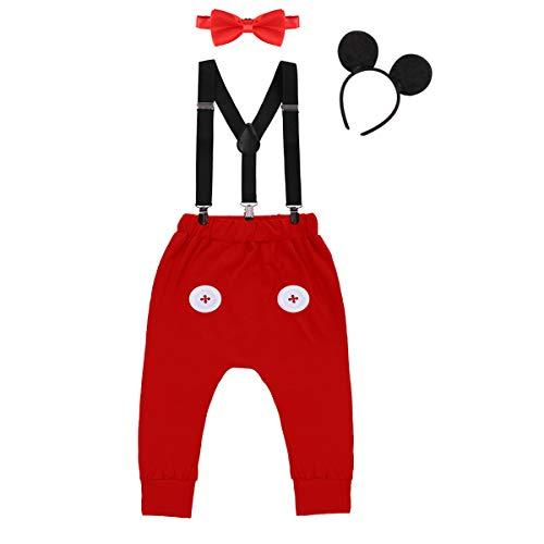 Baby Maus Kostüm - IWEMEK Baby 1. Geburtstag Kostüm Jungen Mouse Karneval Cosplay Outfit Hosenträger Lange Hosen mit Fliege Maus Ohren Stirnband 4pcs Bekleidungssets Fotoshooting Halloween 03 12-18 Monate