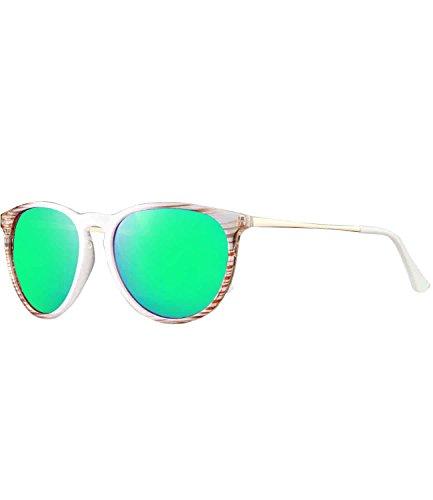 caripe Retro Sonnenbrille Damen Herren Hornbrille Metallbügel Vintage verspiegelt + getönt - 139 (big - weiß- bluegreen verspiegelt-LS9920)