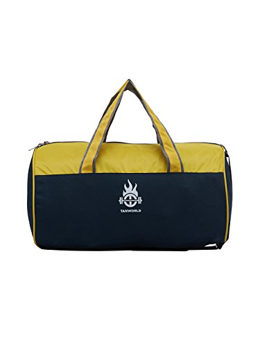 TANWORLD Gym Drum Navy Blue & Yellow Lightweight Polyester 31 Liter Gym Duffel Hand Bag TWDB02_NBlue_Yellow  available at amazon for Rs.499