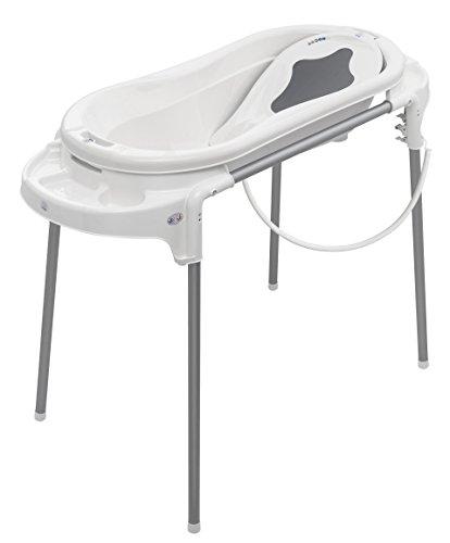 Rotho Babydesign Badeset mit großer Wanne und Funktionsständer, Ideal für 2 Kinder, 0-12 Monate, Weiß, Top Xtra Badestation, 21041000101