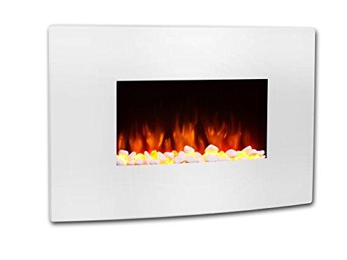 Chimenea eléctrica Egton blanca con pantalla curvada, 220/240 Vac, 1 & 2kW,...