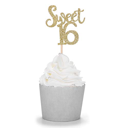 Gold Glitter Sweet 16Cupcake Topper Handarbeit zum 16. Geburtstag Party Dekore