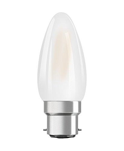 Osram LED Star Classic B Lampe, in Kerzenform mit B22d-Sockel, nicht dimmbar, Ersetzt 40 Watt, Matt, Warmweiß - 2700 Kelvin, 6er-Pack -