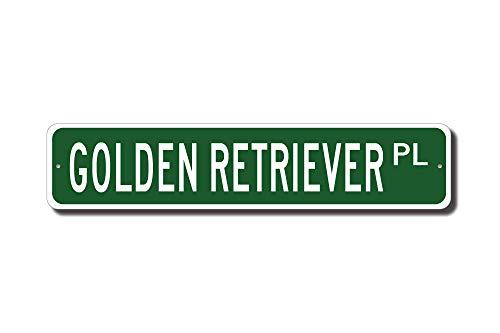 qidushop Golden Retriever Golden Retriever Lover Golden Retriever Schild Straßenschild Hundebesitzer Geschenk Hundeliebhaber Metall Wandkunst Weihnachten lustige Geschenke für Frauen