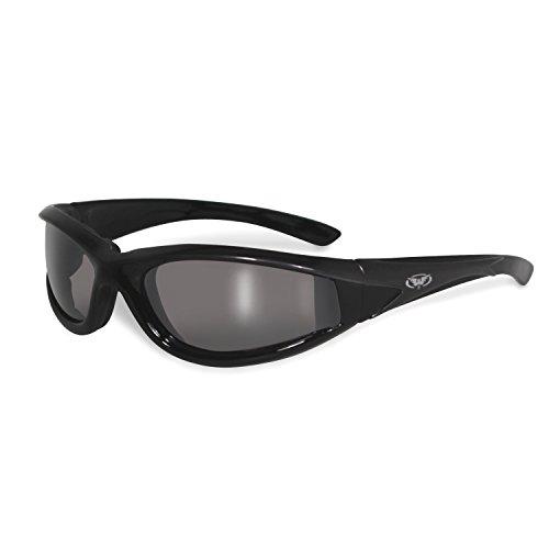 Global Vision Hawkeye☆dunkel verspiegelte Sonnenbrille☆grauer Rahmen☆Bruchsichere Linsen☆Winddicht mit Polster☆UV400