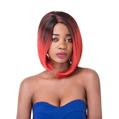 FUHOAHDD European Vogue Kurze sythetic gerade Partei dunkle Mischung rote Perücke für Frauen, 12 inch