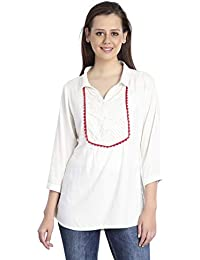 4ec447594dd INSPIRE WORLD Women s Pintex Yoke Formal Shirt with Lace in Off White Rayon