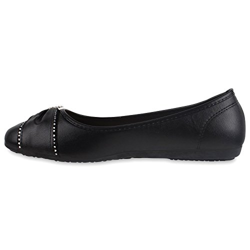 Klassische Damen Ballerinas Strass Schuhe Lederimitat Flats Schwarz