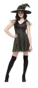 Smiffys Disfraz de Bruja Fever con Luna y Estrellas, Negro y Dorado, con Vestido y sombr