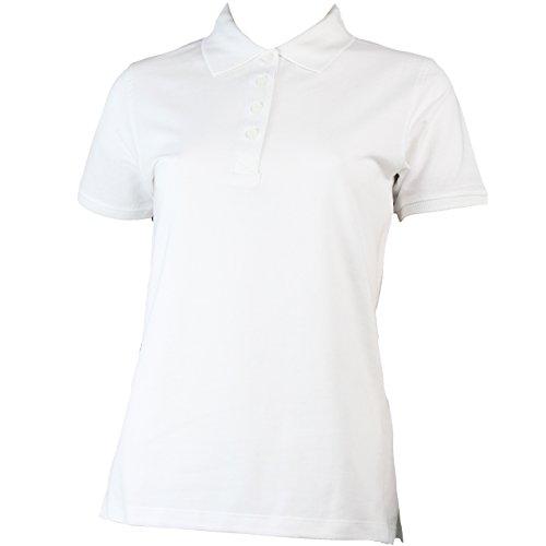 Polo-shirt da donna con bottoni in 9 colori Bianco