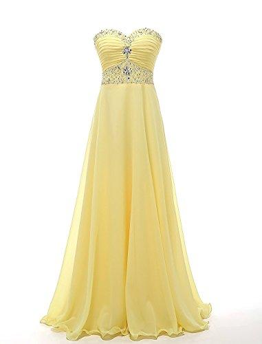CoutureBridal® Robe Femme Bustier de Soirée Bal Cocktail Rrobe de Demoiselle d'honneur Chiffon Jaune